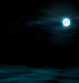 Night Sky with the Moon. Lunar Landscape