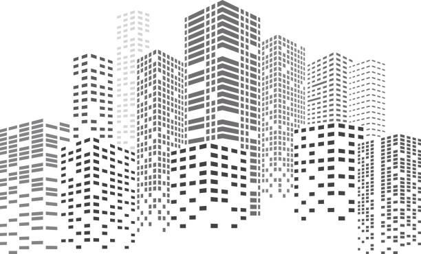 Night Skyscrapers City Black buildings. City Skyscrapers illustration. Urban scene. Vector design element isolated on white background. cityscape stock illustrations