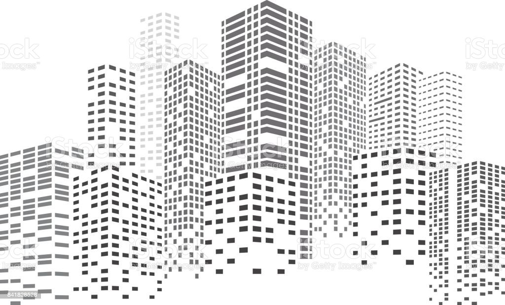 Night Skyscrapers City vector art illustration