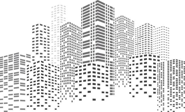 night skyscrapers city - abstract silhouettes stock illustrations