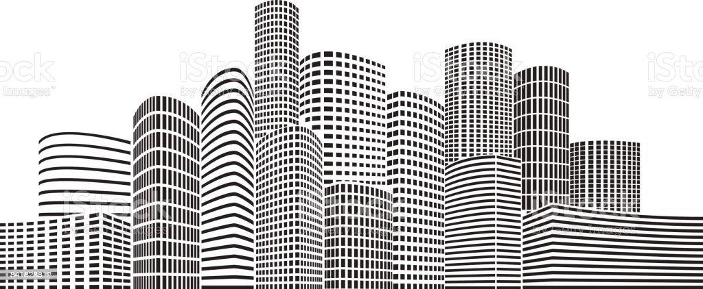 Night Skyscrapers City vector art illustration