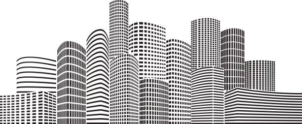 night skyscrapers city - architecture silhouettes stock illustrations