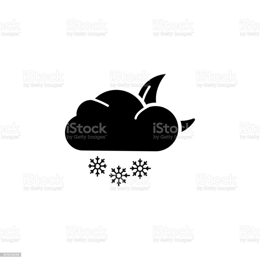 night snow icon vector art illustration