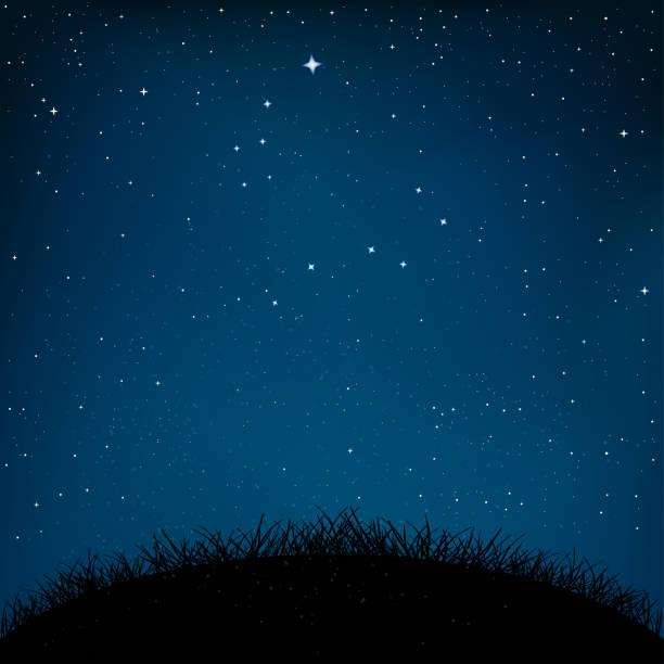 夜空繁星的草地和地面 - sky 幅插畫檔、美工圖案、卡通及圖標