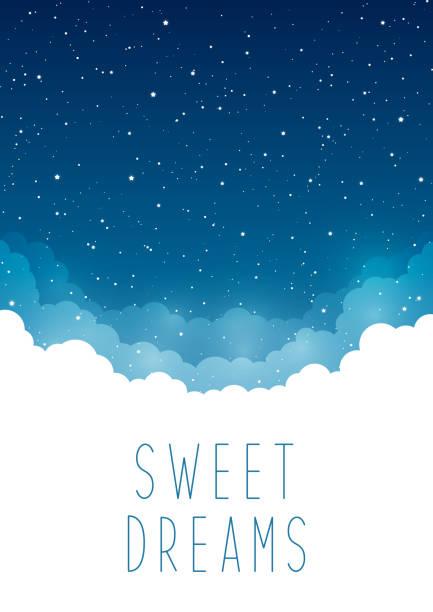 illustrations, cliparts, dessins animés et icônes de ciel étoilé de nuit avec des nuages pour votre conception - sky
