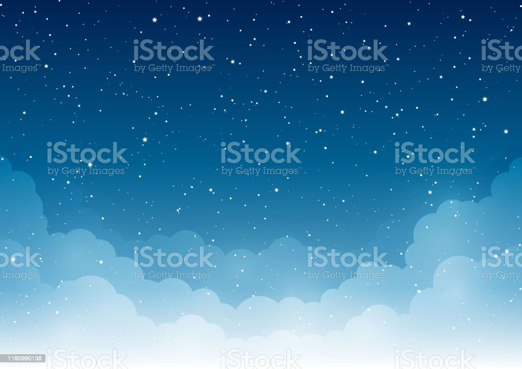 Night starry sky with light white clouds - Векторная графика Абстрактный роялти-фри