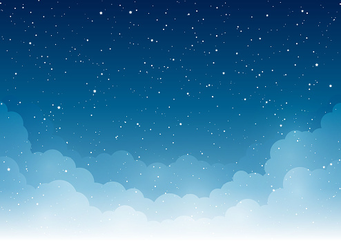 Night starry sky with light white clouds clipart