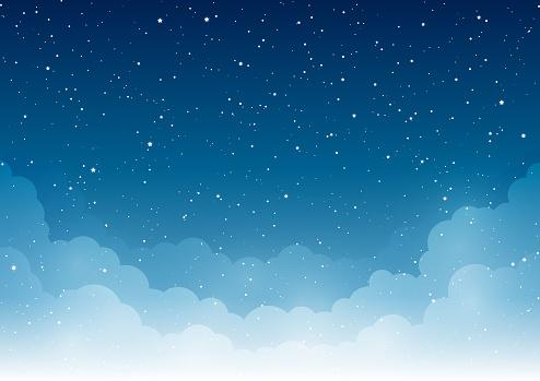 Night Starry Sky With Light White Clouds — стоковая векторная графика и другие изображения на тему Абстрактный