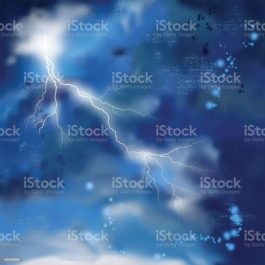 Night Storm Sky Painting Background vector art illustration