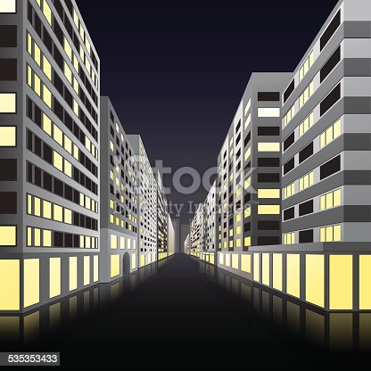 night street of the city with office buildings in perspective