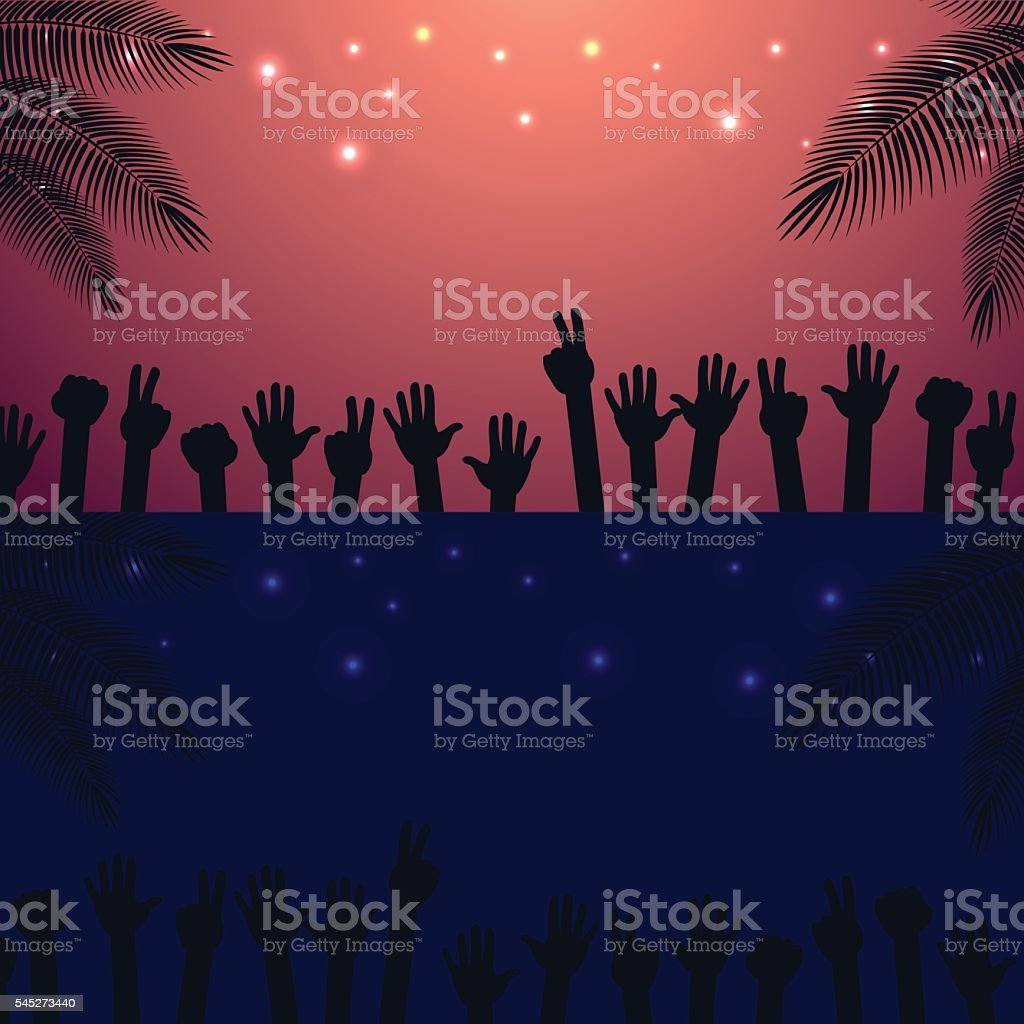 Night, Sunrise Party beach vector background with raised hands dancing. vector art illustration