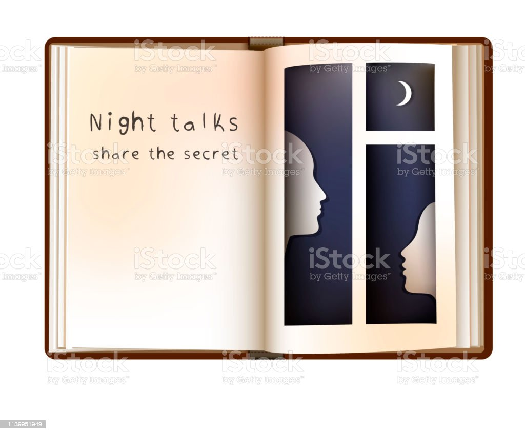 night talks concept, two people profile in the book page that looks...
