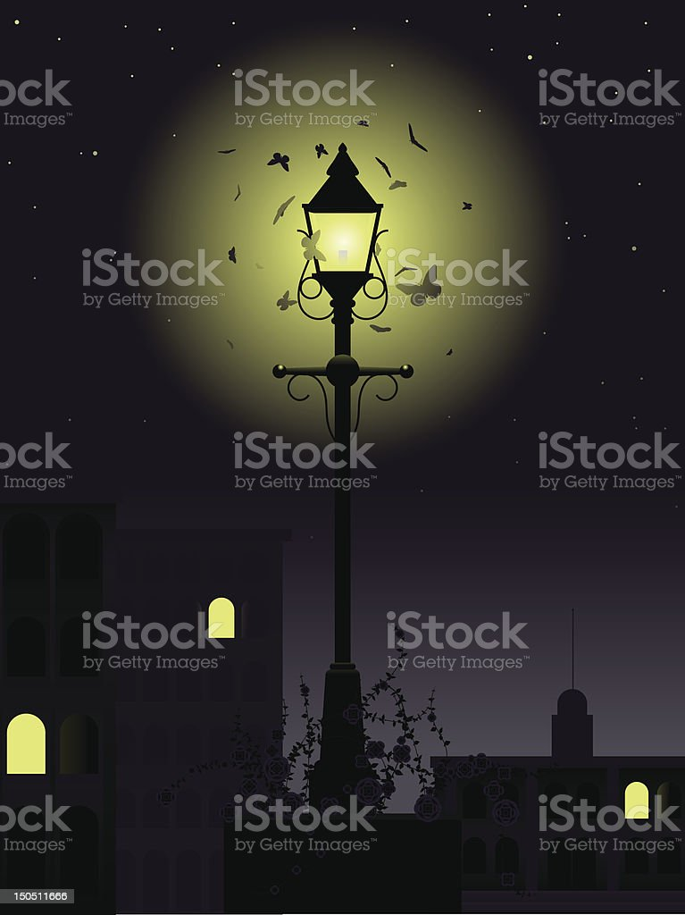 Night time streetlamp royalty-free stock vector art