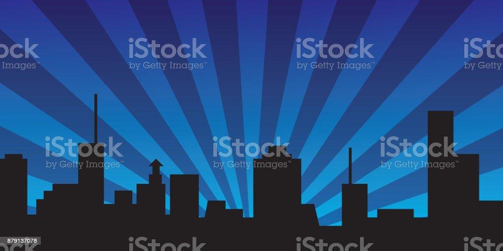 Night Town Banner vector art illustration