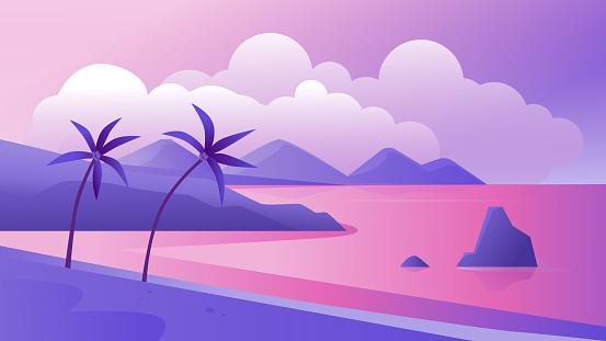 Night tropical coast landscape vector illustration, cartoon flat tropics purple romantic panoramic scenery with evening beach, palm trees and sea