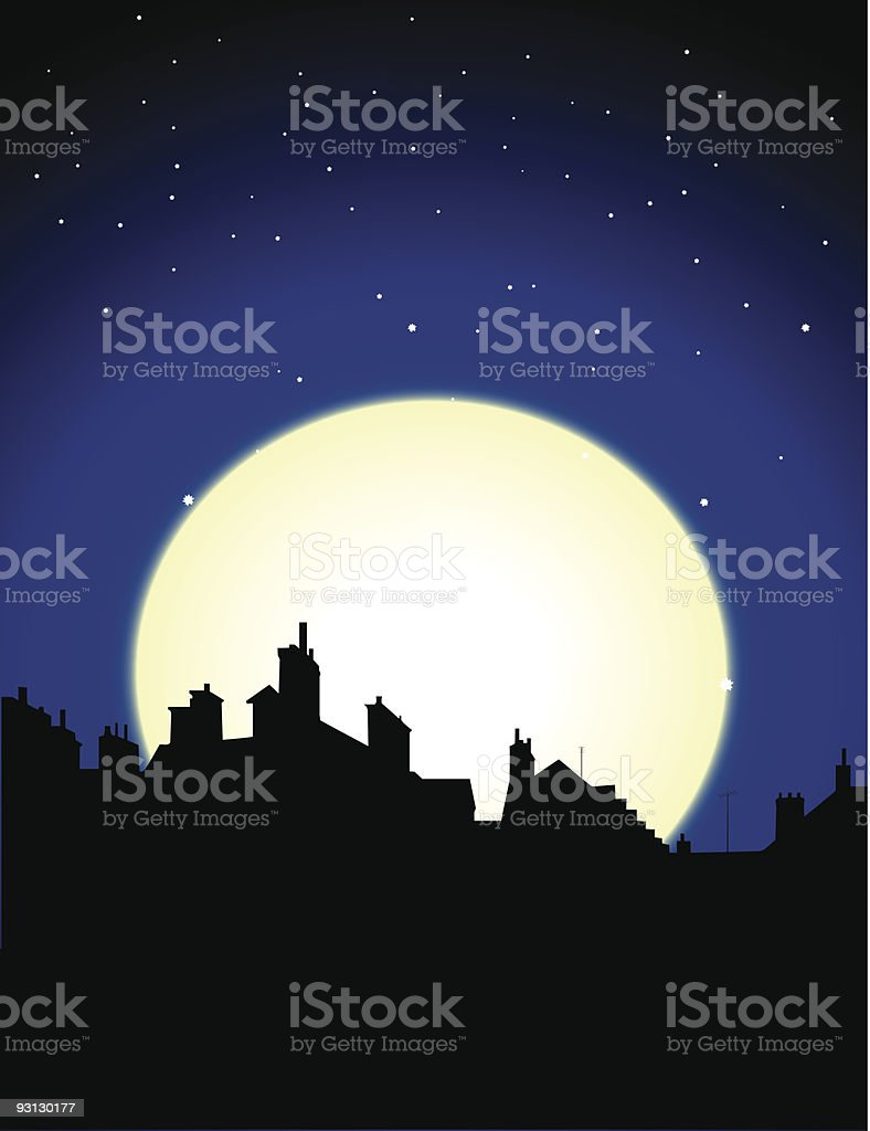 Night view of a city with stars and the moon royalty-free stock vector art
