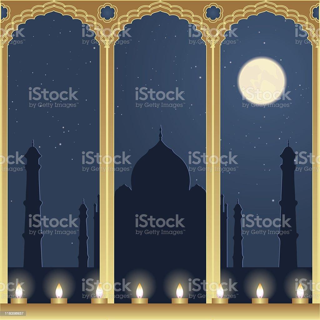 Night View of Taj Mahal royalty-free night view of taj mahal stock vector art & more images of arch