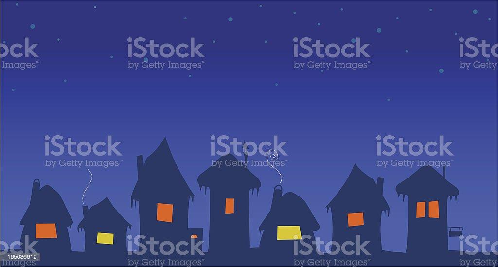 Night village royalty-free stock vector art