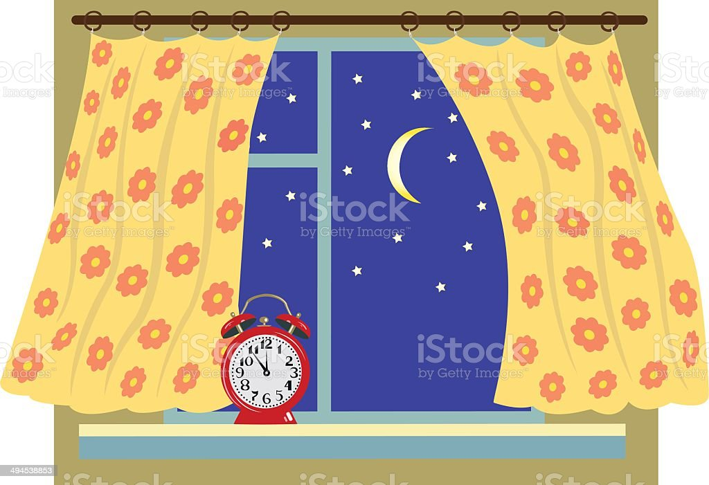 night window with a curtain royalty-free night window with a curtain stock vector art & more images of blue