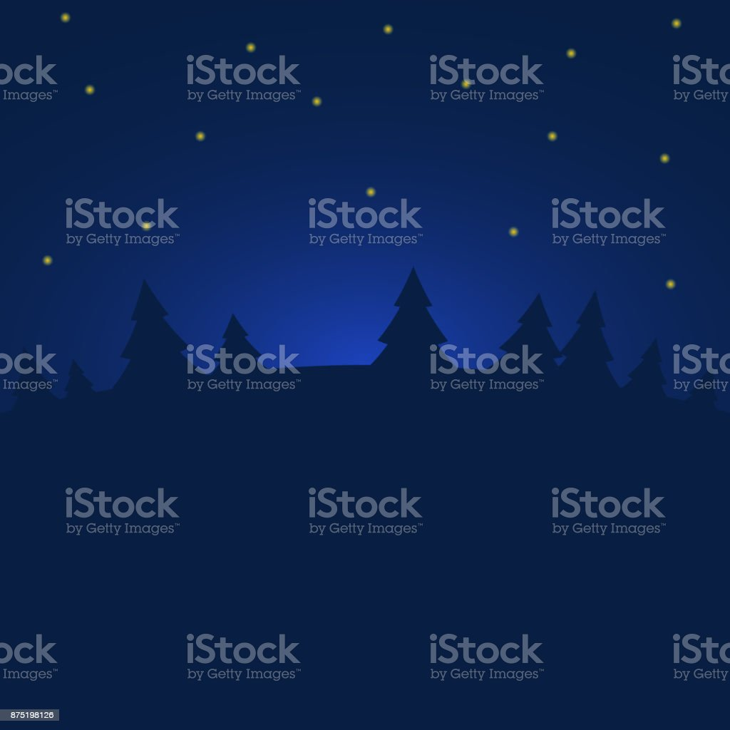 Night winter forest with stars. vector art illustration
