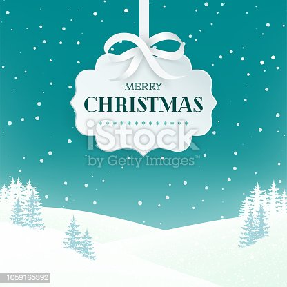 istock Night winter scene landscape background with snowy field and fir trees. Paper 3d label with silver bow and ribbon on the teal background with falling snow. Merry Christmas nature background. Vector. 1059165392