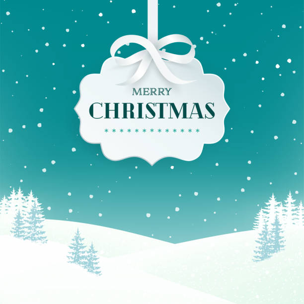 Night winter scene landscape background with snowy field and fir trees. Paper 3d label with silver bow and ribbon on the teal background with falling snow. Merry Christmas nature background. Vector. Night winter scene landscape background with snowy field and fir trees. Paper 3d label with silver bow and ribbon on the teal background with falling snow. Merry Christmas nature background. Vector. holiday background stock illustrations