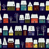 Night Winter Town Pattern, Snow Roof and Christmas Decoration. EPS 10, RGB. Use transparency.