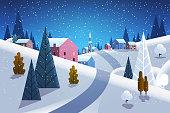 night winter village houses mountains hills landscape snowfall background horizontal flat vector illustration