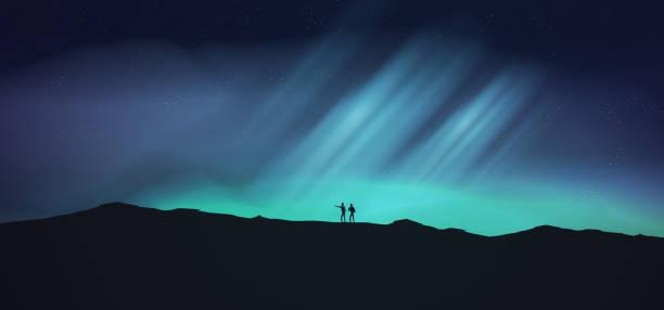 bildbanksillustrationer, clip art samt tecknat material och ikoner med natt med norrsken, norrsken prospektering äventyr med vandrare - northern lights