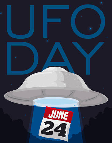 Night with Flying Saucer Abducting Calendar in UFO Day