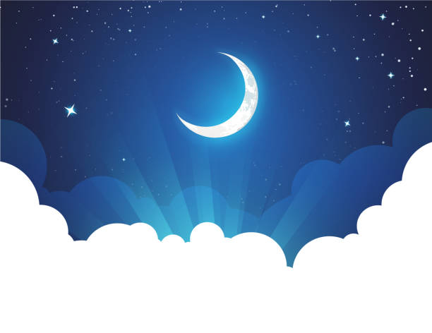 Night with Moon and Stars - Vector placard illustration with copy space at bottom Night with Moon and Stars - Vector placard illustration with copy space at bottom. Flyer with Moonlight night for illustration of fairy tale, fantasy or calendar events. night stock illustrations