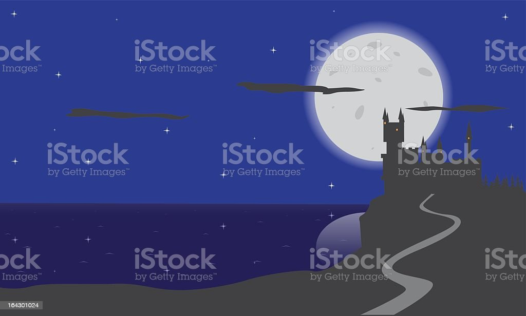 Night_castle vector art illustration