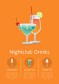 Nightclub alcohol drinks advertising poster with icons alcoholic beverages in festive decorated glasses. Vector with cocktails in circles and text