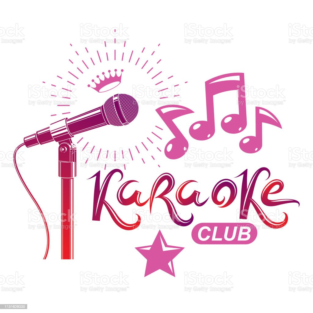 Nightclub Karaoke Advertising Poster Composed With Stage Or Recorder  Microphone Vector Illustration And Musical Notes Superstar Performance