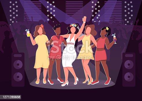 Ilustración vectorial de color plano de fiesta de la discoteca
