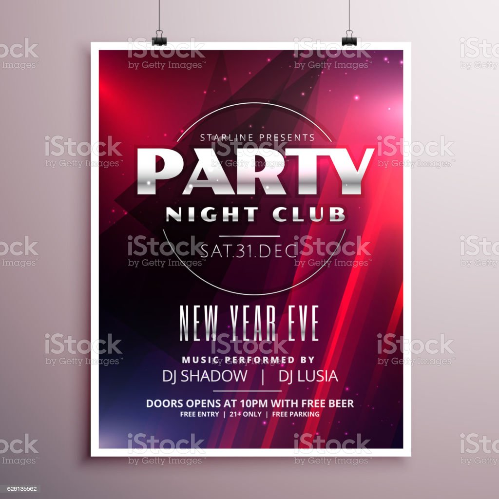 nightclub party flyer template design with event details のイラスト