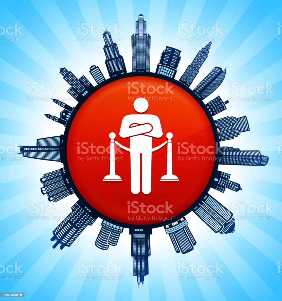 Nightclub Security on Modern Cityscape Skyline Background vector art illustration