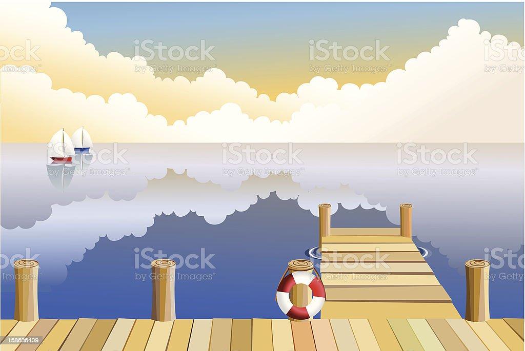Nightfall at the pier vector art illustration