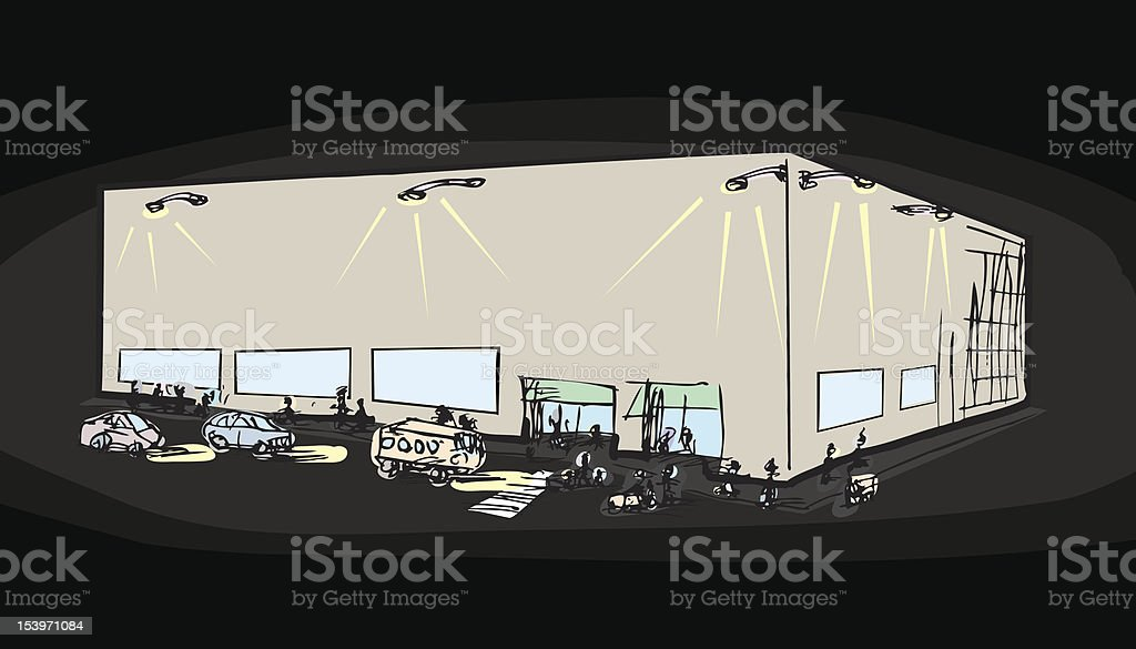Nightime Shopping royalty-free stock vector art