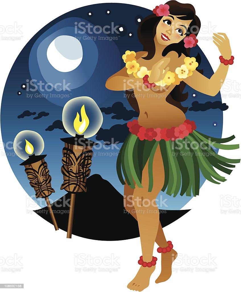 Nightime Tiki Hula vector art illustration