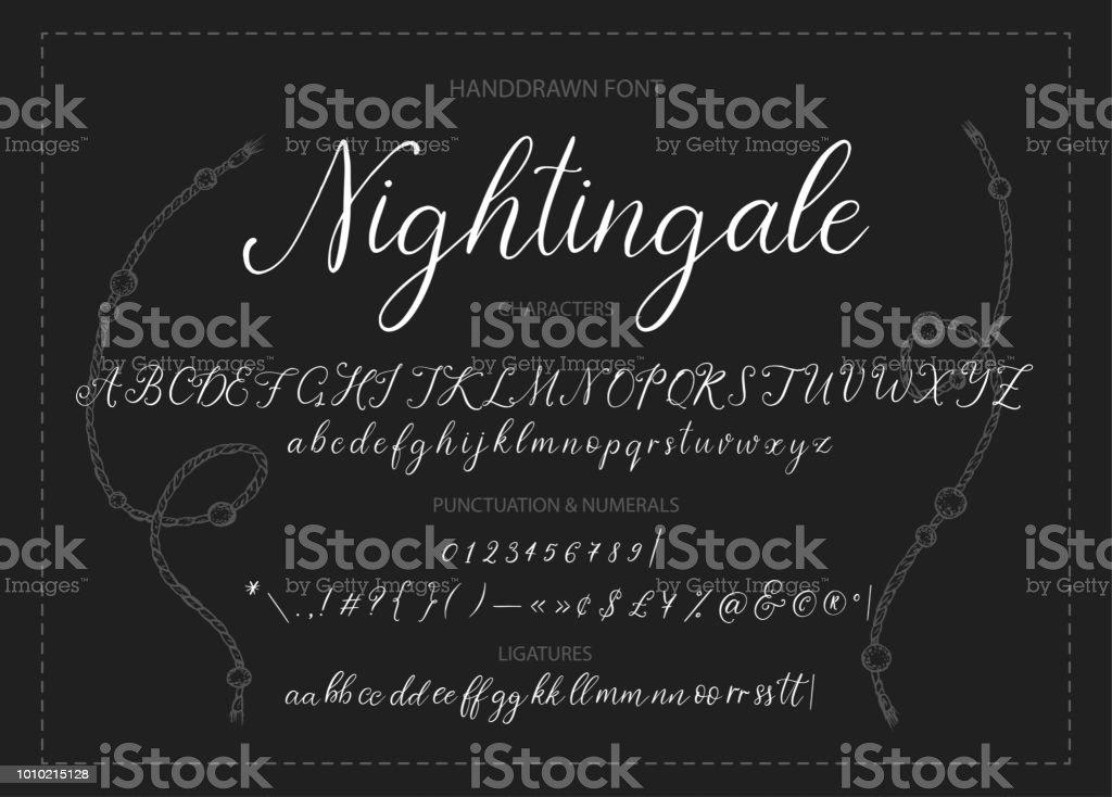 Nightingale. Handdrawn calligraphic vector font.