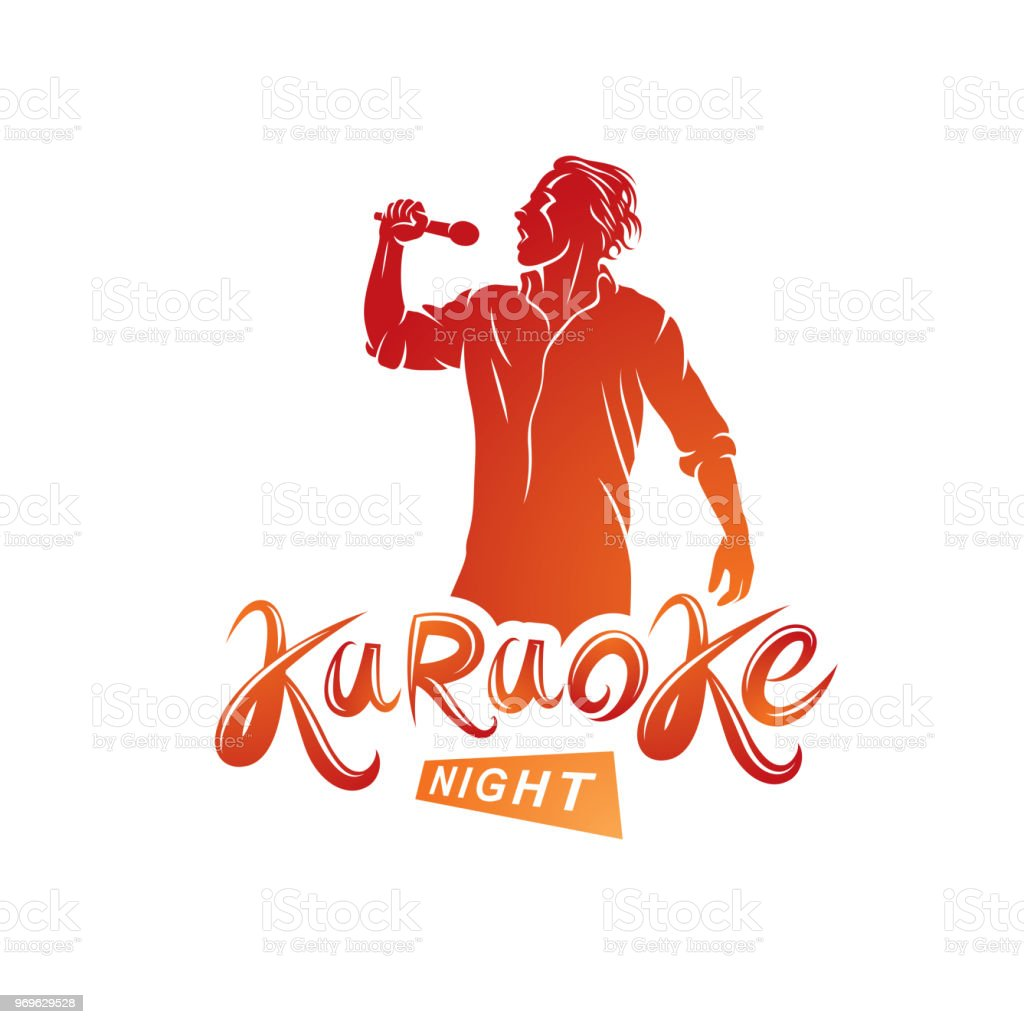 Nightlife entertainment concept, karaoke night vector inscription composed with stage microphone and singing star. Leisure and relaxation lifestyle presentation. vector art illustration