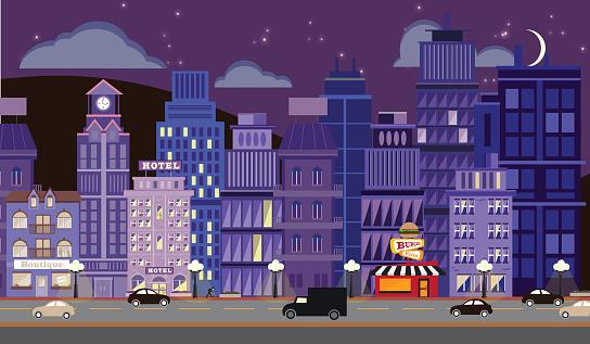 Nightlife Metropolitan Cityscape with Stars