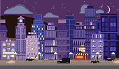 Nightlife Metropolitan Cityscape setting. Vector illustration contains burger and fries restaurant, hotel, boutique, clock tower, roadway, stars, cars, illuminated streetlights, darkened office buildings, silhouette figures in various windows like a bellhop and a pair of lovers, fluffy clouds, highrise buildings, and a sophisticated downtown city vibe. File saved in EPS10.