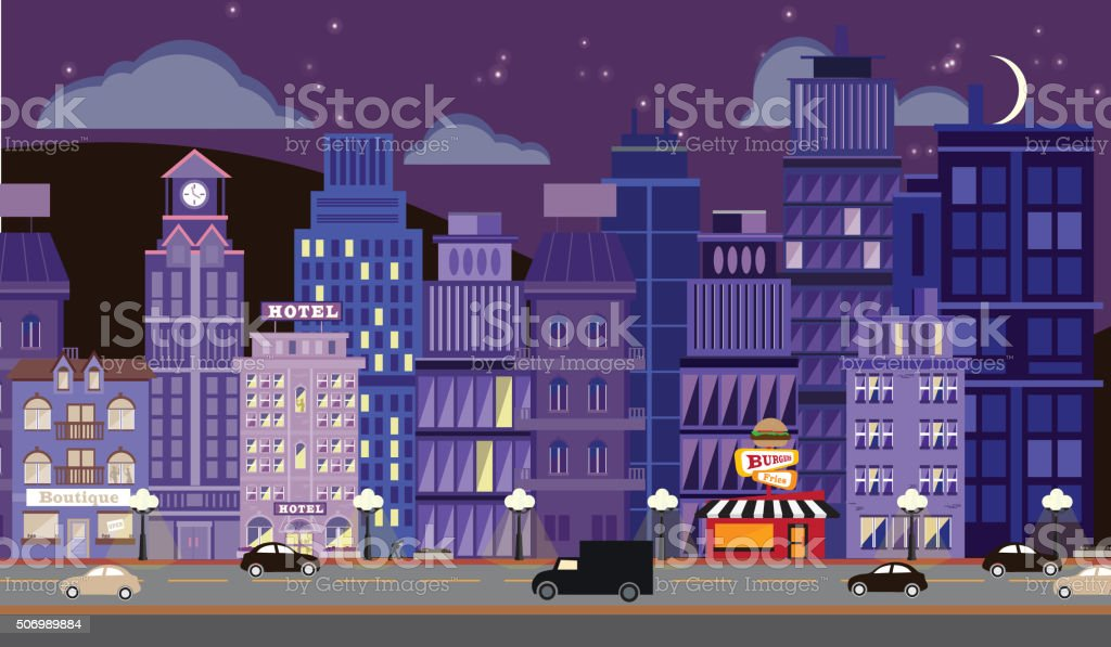 Nightlife Metropolitan Cityscape with Stars vector art illustration