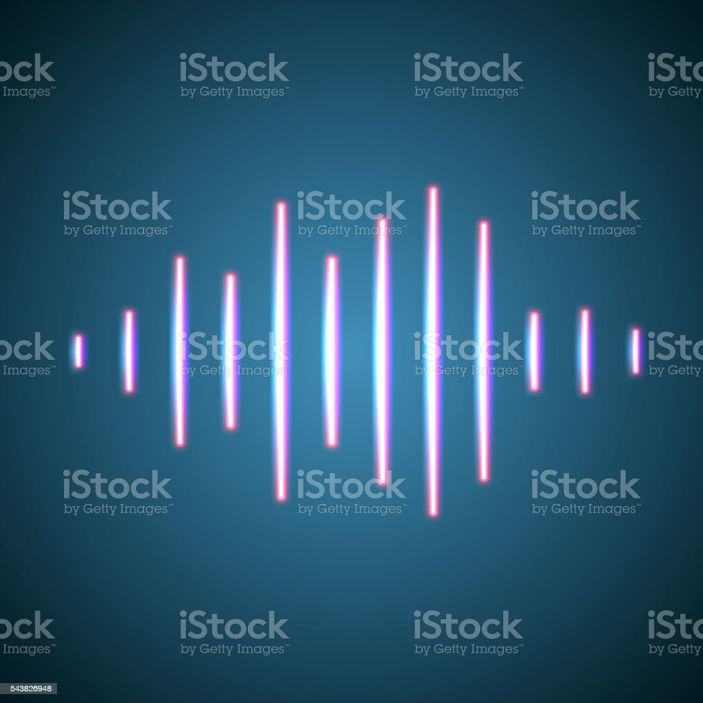 Nightlife styled glowing neon music wave vector art illustration