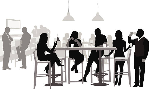 NightOut Young adults gather for food and drinks at a local nightclub. alcohol drink silhouettes stock illustrations