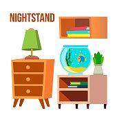 Nightstand, Bedside Tables, Desks Cartoon Vector Set