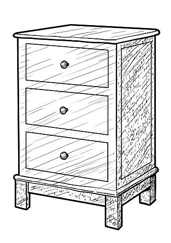 Nightstand illustration, drawing, engraving, ink, line art, vector