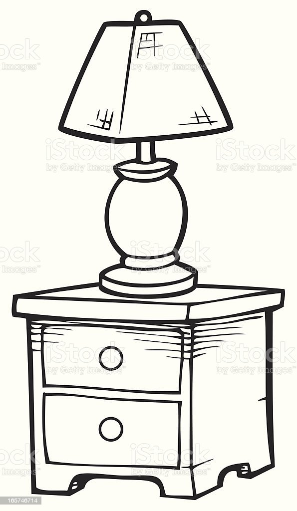 Nightstand in Black and White vector art illustration